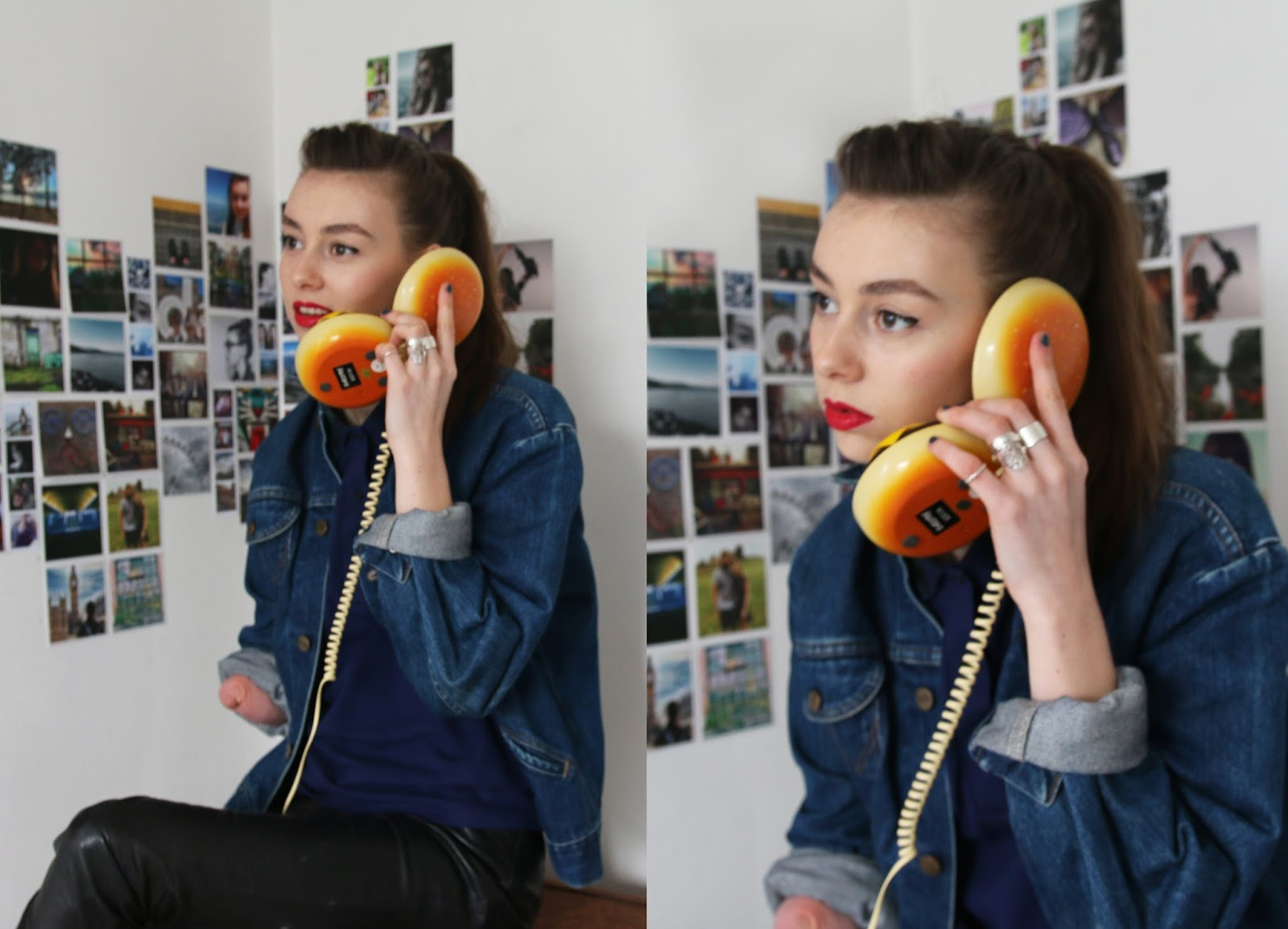hamburger phone, fred perry outfit, fashion, british, juno phone, amy winehouse,