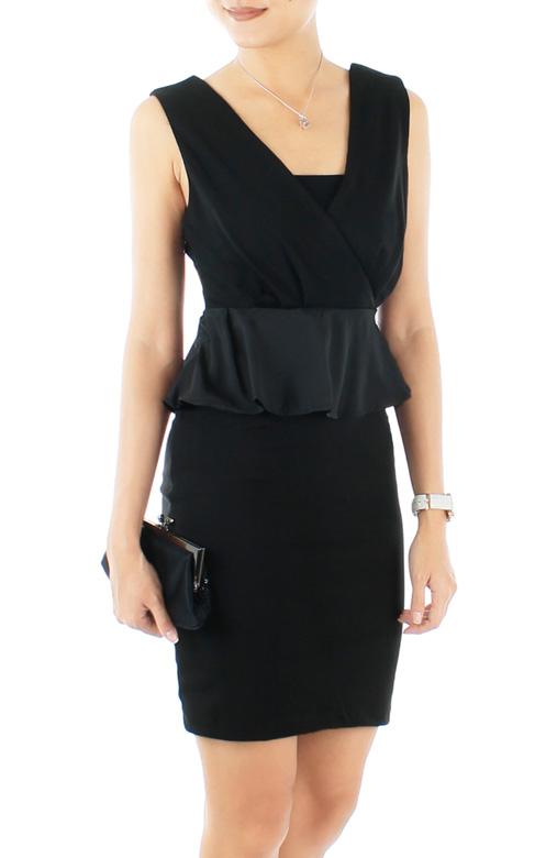 Black Beauty Satin Peplum Dress