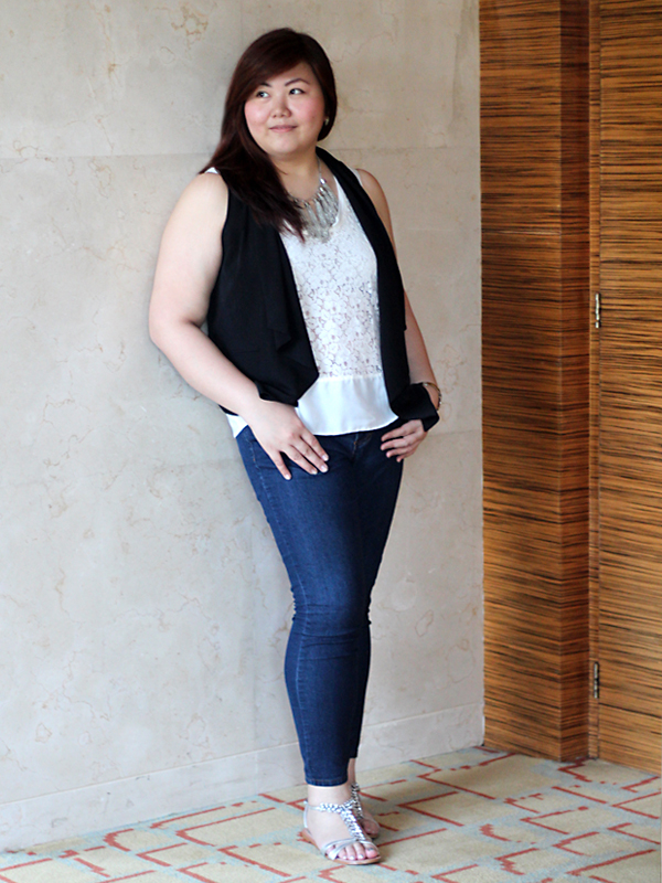 Forever 21 Plus Black Shawl Vest, White Lace See-through Sleeveless Tank Top, Forever 21 Plus Ankle Skinny Jeans, Steve Madden Black Bejeweled Sandals, Silver Tassels Fringe Necklace, Filipino Plus Size Blogger