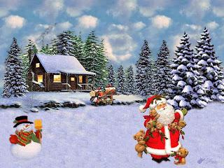 tarjetas de navidad con santa y muñeco de nieve