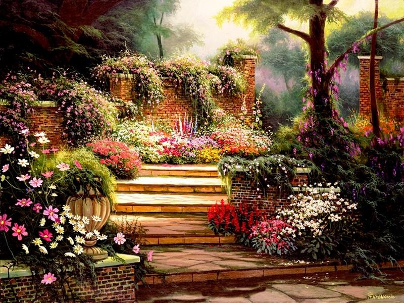 Egidio antonaccio 1954 realistic impressionist painter - Paisajes de jardines ...