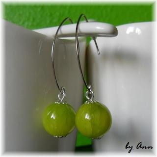 kolczyki seledynowe jasno zielone marmurkowe