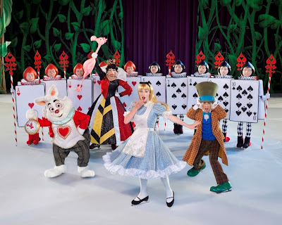 disney on ice alice with rabbit, mad hatter, and queen