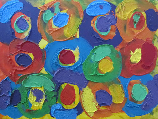 "Textured abstract in bold colours of blue, green, red, yellow and orange. Textured paint swirls form the faces of angelic children singing together, 18"" x 24"""