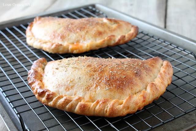 Salami and Mozzarella Calzones - an easy dinner idea sure to become a family favorite! Recipe at LoveGrowsWild.com