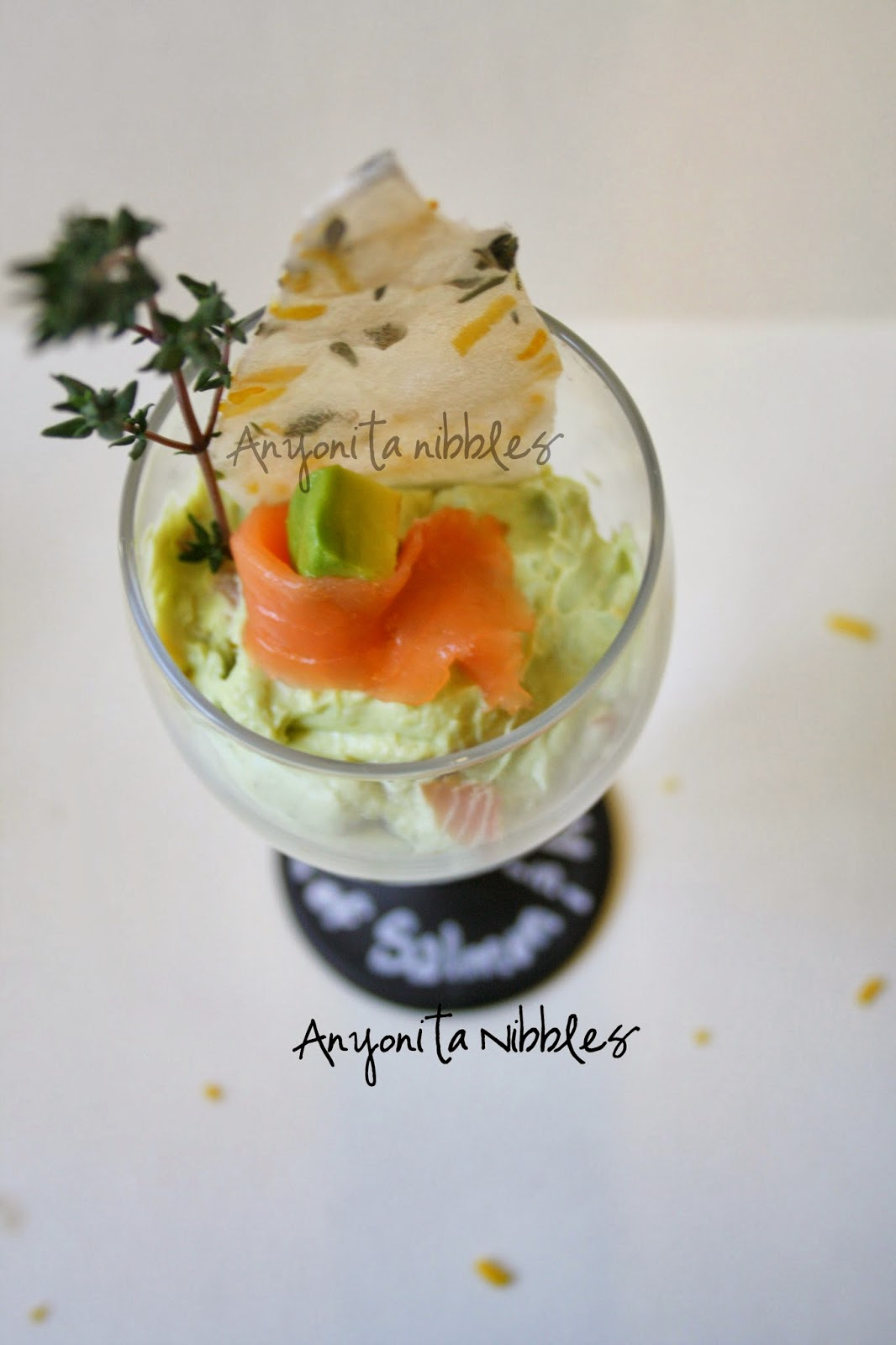 Overhead of a Verrine of Smoked Salmon Mousse with Avocado Guacamole