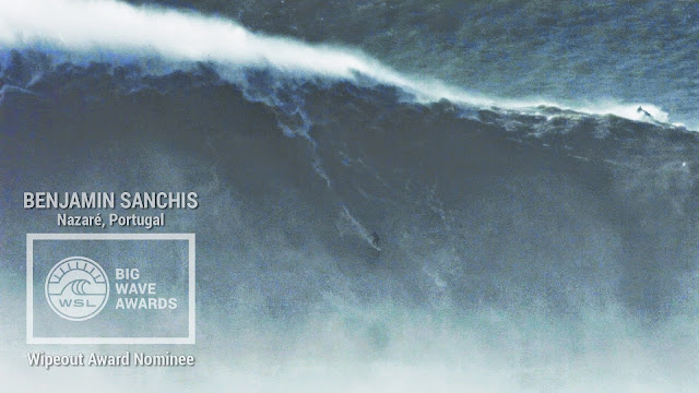 Benjamin Sanchis at Nazare - 2015 Wipeout Award Nominee - WSL Big Wave Awards