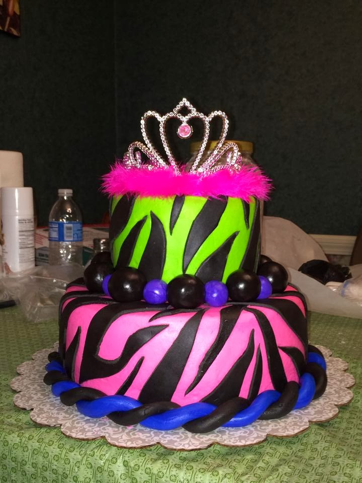 ... .life.laughter. happily ever after...: pink and lime green zebra cake
