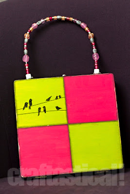 wooden box purse with hand-drawn doodled birds and beaded handle--cute pink and green!