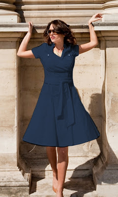 Women's Navy Blue Shirt Dress - Joie de Vivre