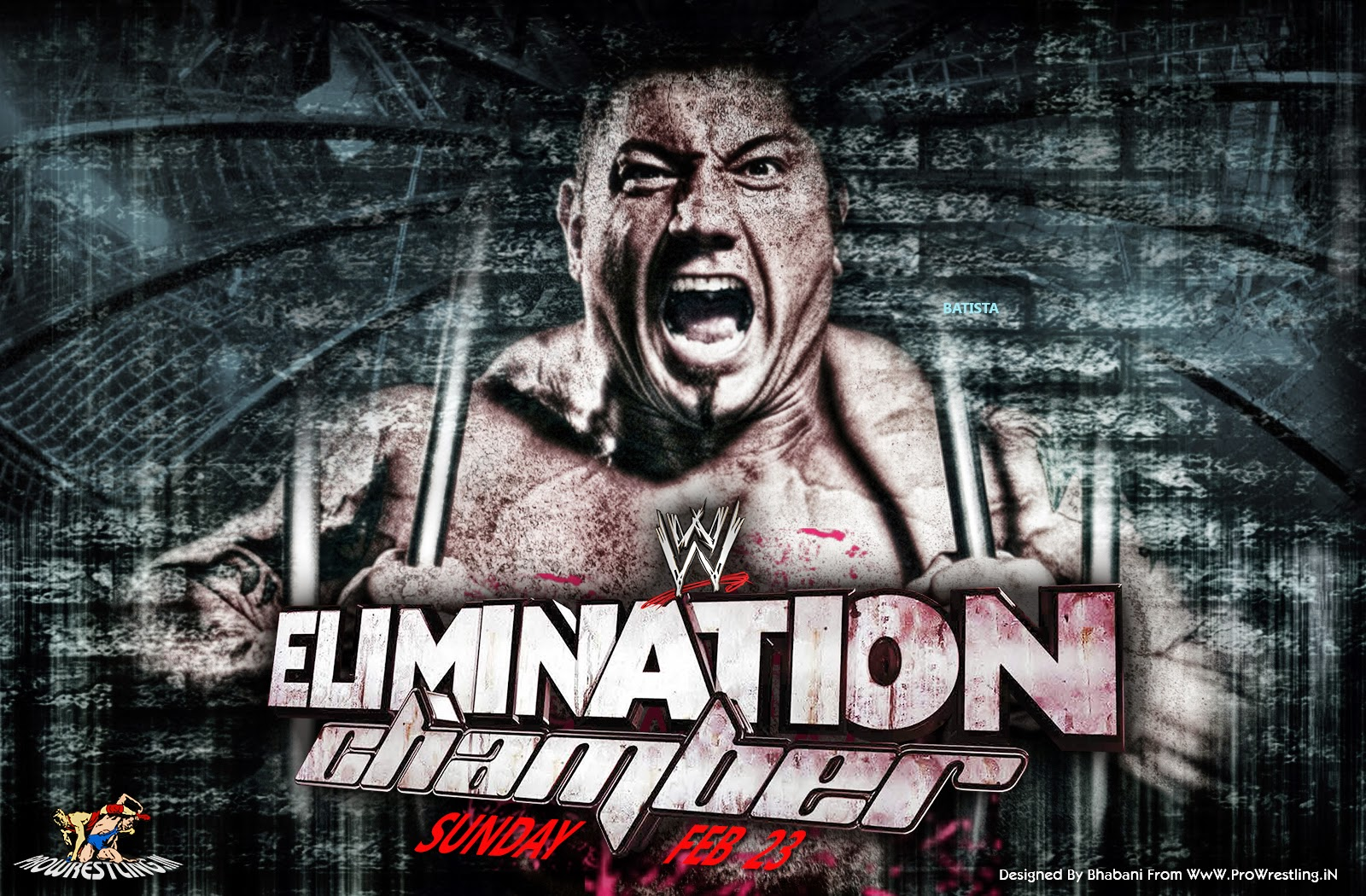 Wallpaper » Download WWE Elimination Chamber 2014 Wallpaper (Designed By Bhabani) [feat. Batista]