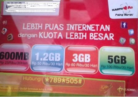 Paket Internet Kartu AS 3GB Hanya 60 Ribu