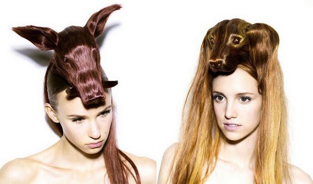 creative hair design love laugh