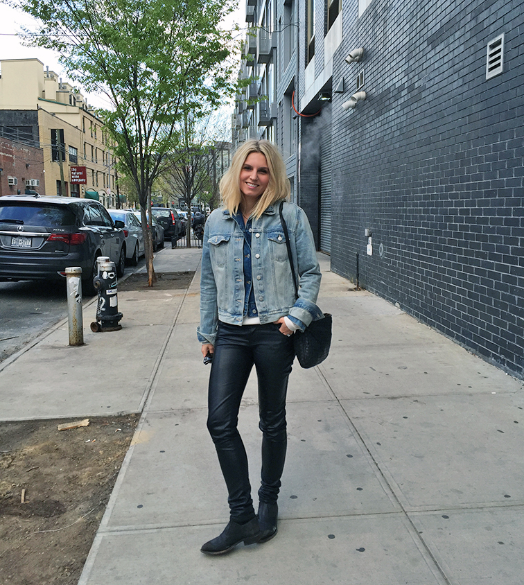 Fashion Over Reason, Gap double denim jacket, leather pants, Frye shooties, Bottega Veneta crossbody bag