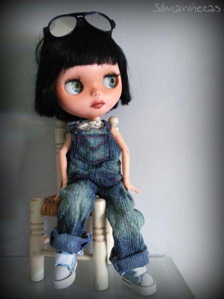 Lunnaris con peto vaquero oversize para blythe o basaak doll