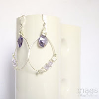 Wire Crystals Earrings by MagsBeadsCreation