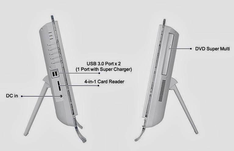 левая и правая стороны моноблока MSI Wind Top AE2031