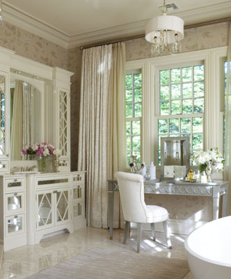 A Creamy White Marble Bathroom Looks So Pretty With All The Tone On Tone Accents