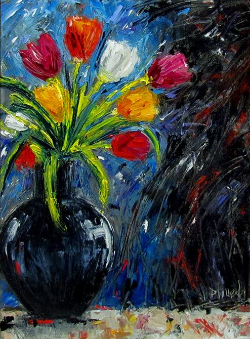 Debra Hurd Original Paintings And Jazz Art Abstract Flowers In Vase