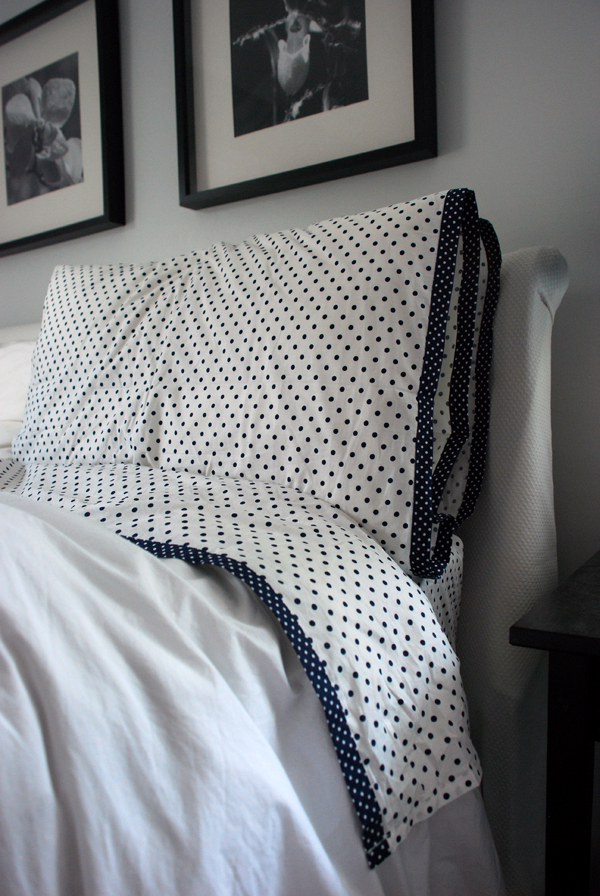 Best  white with navy blue of course polka dot sheet set for our room It makes me want to redo the entire house in navy and white If only I had the time u