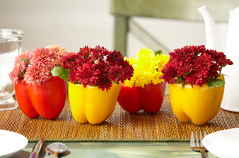 bell peppers hollowed out vases