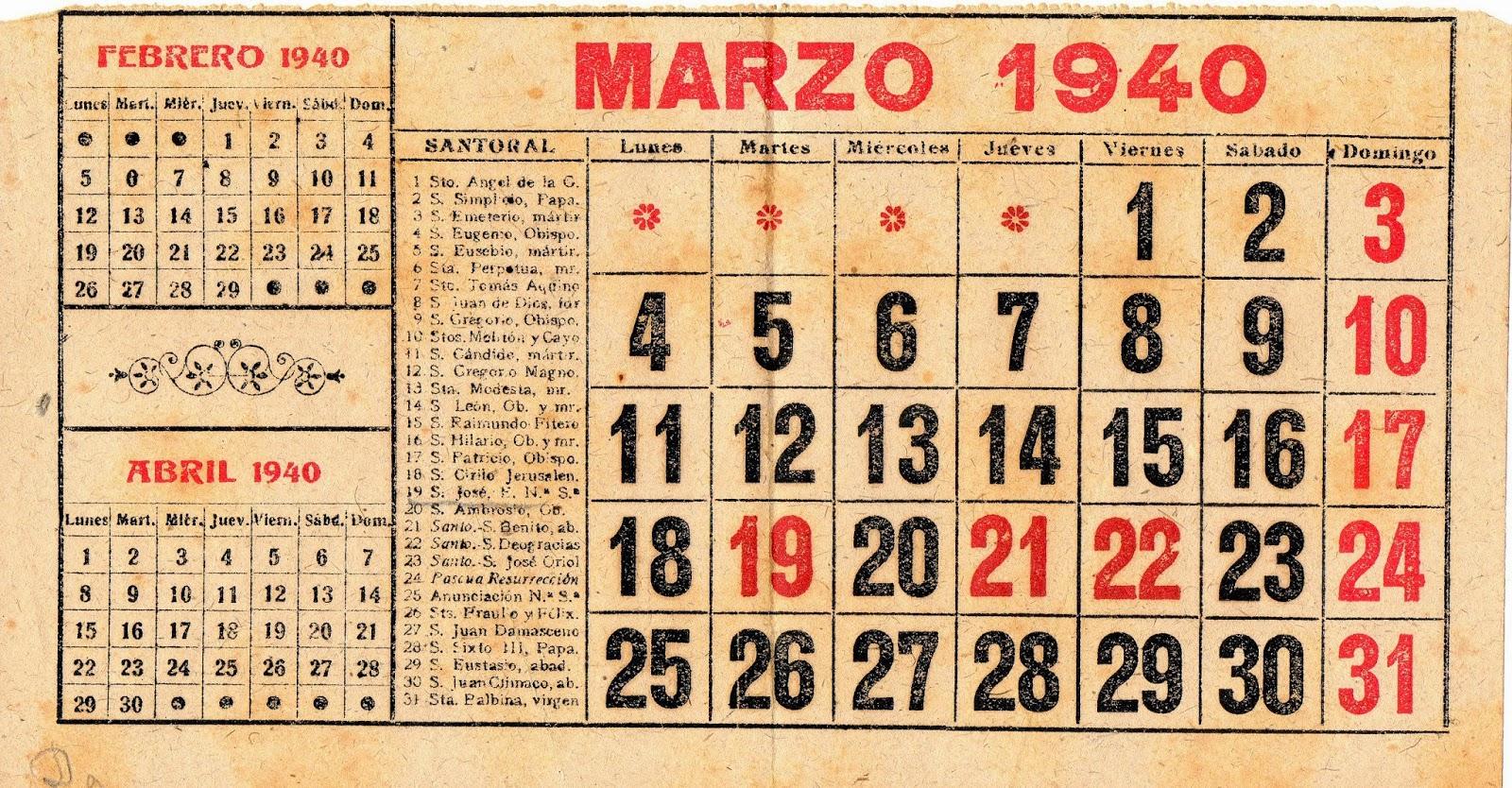Melitina Álvaro Blázquez - Material escolar - Marzo de 1940 - Calendario