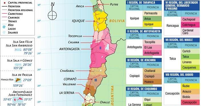 Mapas de chile mapa poltico de chile sciox Choice Image