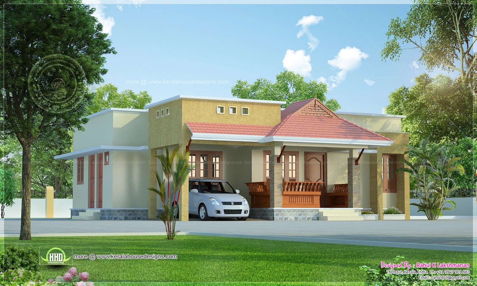 Small kerala style beautiful house rendering kerala home for Home designs small
