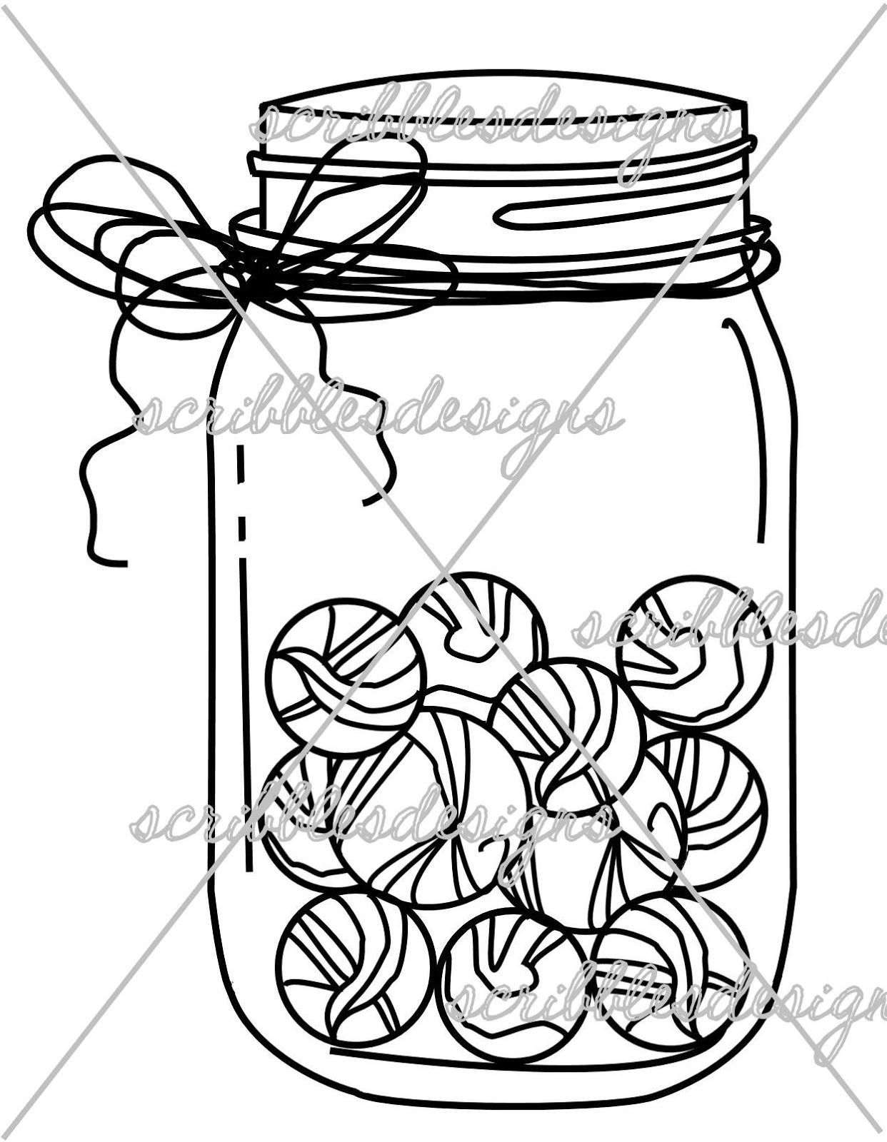 Mason Jar Coloring Page Scribbles Designs 8101 Marbles Mason Jar $3.00