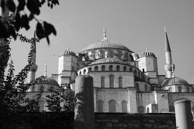 View of Blue Mosque from the museum entrance.