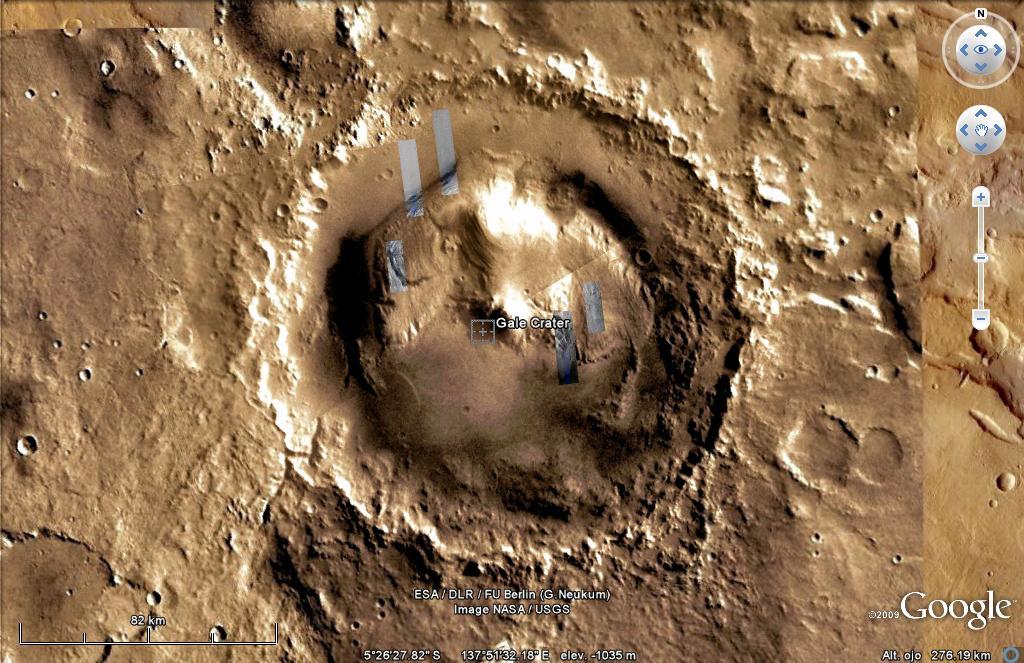 Resultado de imagen de el cráter gale de marte