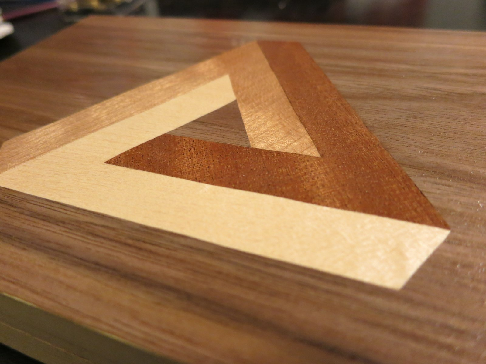 Wood doesn't grow on trees: Penrose Triangle Marquetry