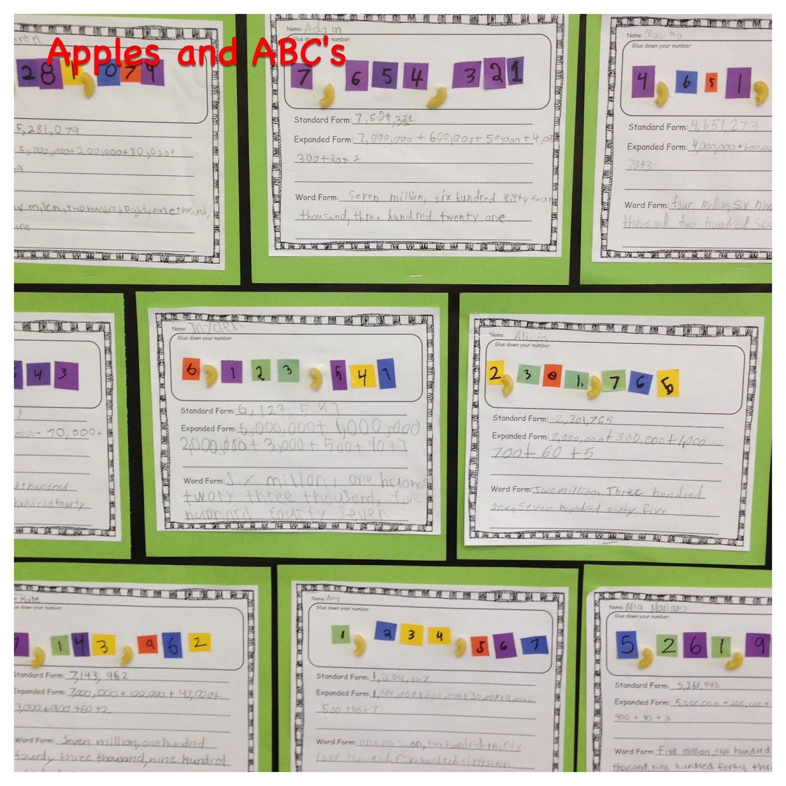 Number form craft apples and abcs falaconquin