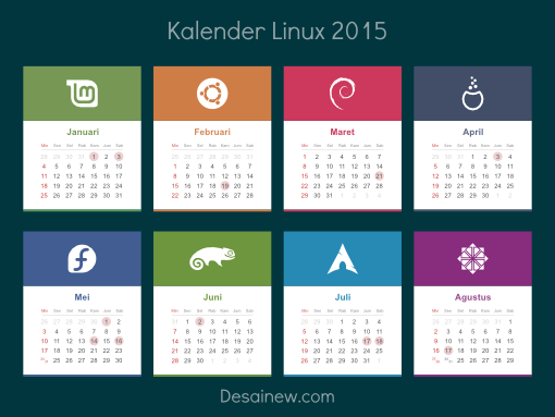 Desain vektor kalender linux 2015 - Calendar Vector Design
