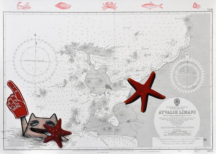 Seascape 21, 2011. Navigation map, acrylic on canvas, 70 x 50 cm