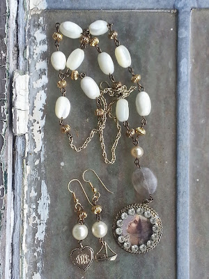 Victorian assemblage necklace and earrings