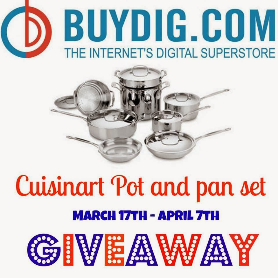 Enter the BuyDig Cuisinart Pot and Pan Set Giveaway. Ends 4/7