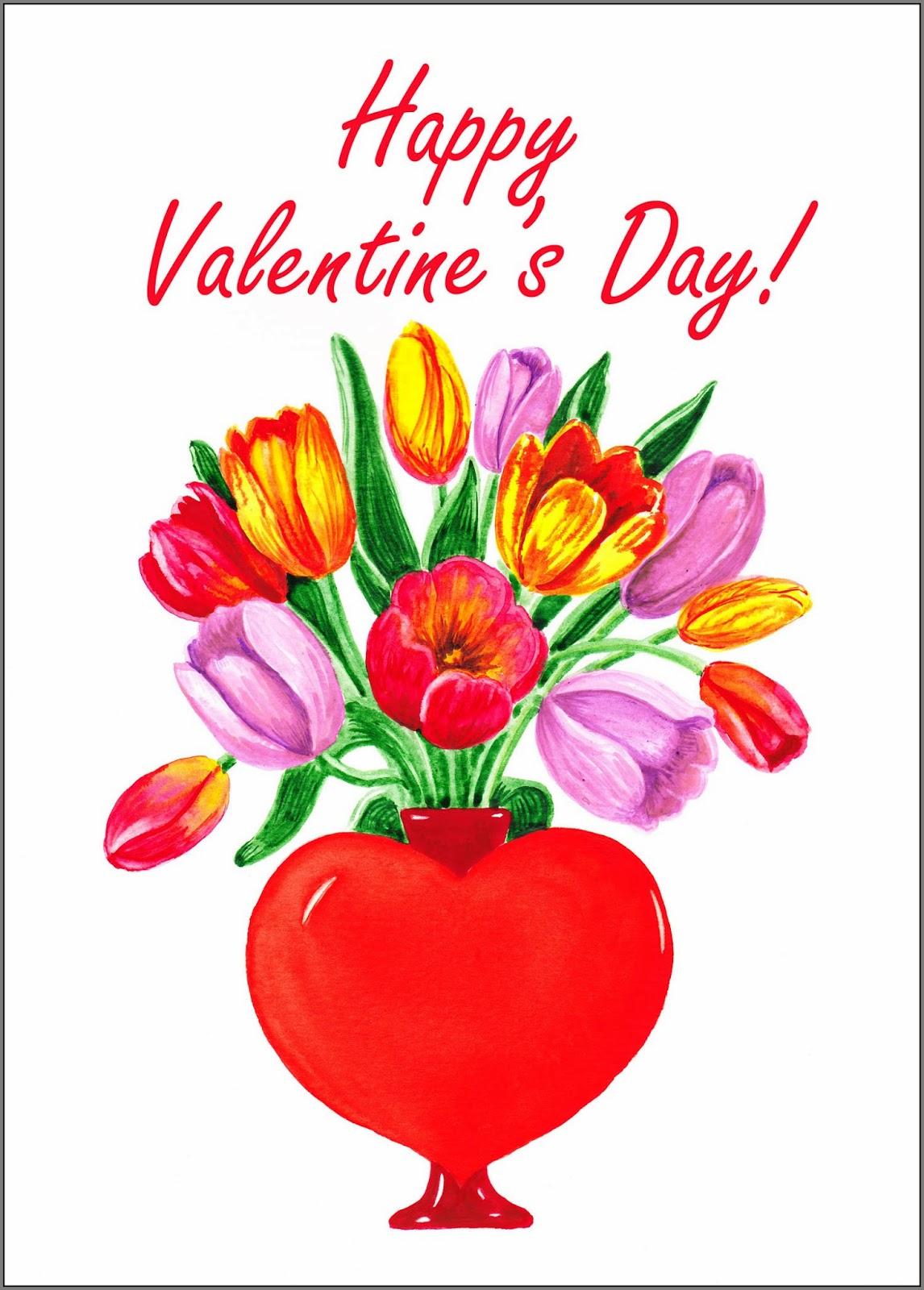 Red Yellow Purple tulips Heart vase