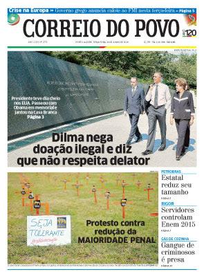 Capa Correio do Povo-RS 30 de junho 2015