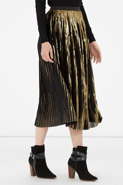 warehouse gold pleat skirt, midi gold pleated skirt,