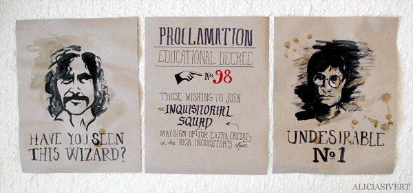 aliciasivert, alicia sivert, alicia sivertsson, harry potter, poster, affisch, halloween, party, painted, painting, acrylics, akrylfärg, måla, målad, målat, måleri, black and white, proclamation no. 98, professor dolores umbridge, undesirable no. 1, wanted poster, efterlysning, sirius black, have you seen this wizard