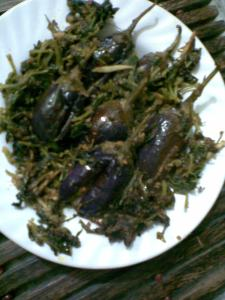 stuffed brinjals stir fried with fenugreek greens n ginger