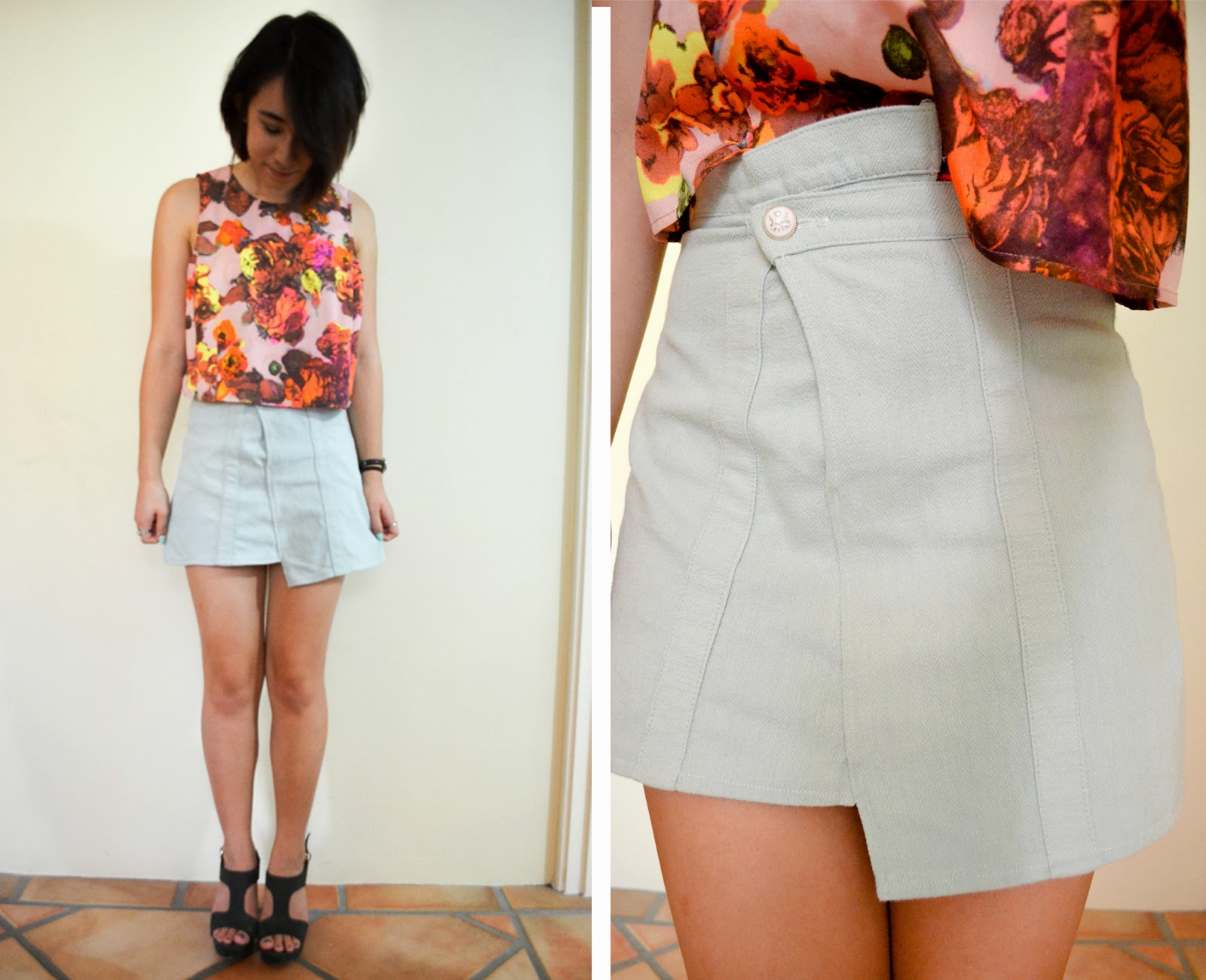 asymmetrical skirt diy blue thrifted top crop neon floral flowers heels outfit inspiration styling style