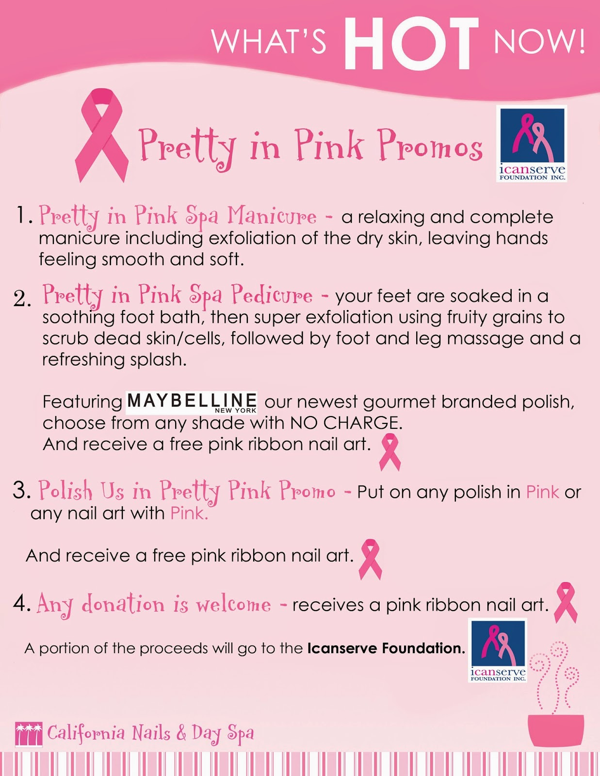 California Nails Day Spa Offers Pretty In Pink Promo October 10