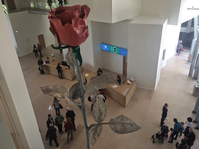 Rose sculpture and foyer at the Fondation Louis Vuitton, Paris