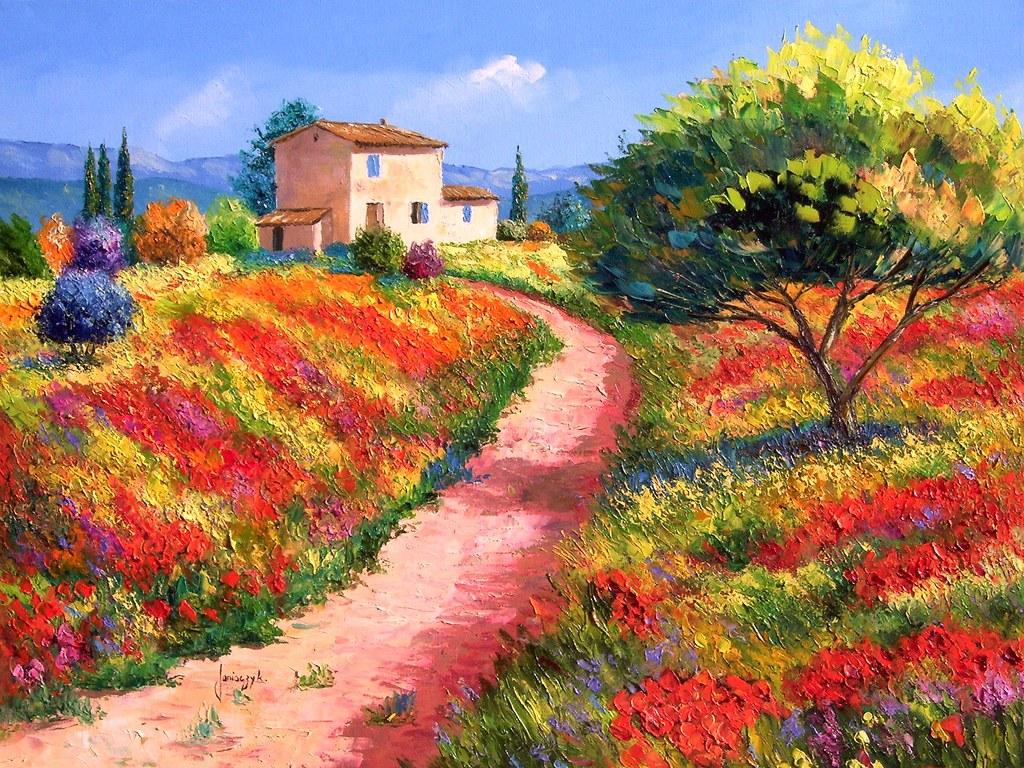 Sharing The World Together: Jean Marc Janiaczyk Landscape Oil Painting
