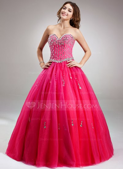 Fuschia full length prom dress