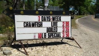 crawfish Prices sign in Port Vincent Louisiana
