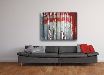 abstract, wall art, canvas print, canvas art, urban decay, grey, red, black and white, female artist, unique, limited edition,