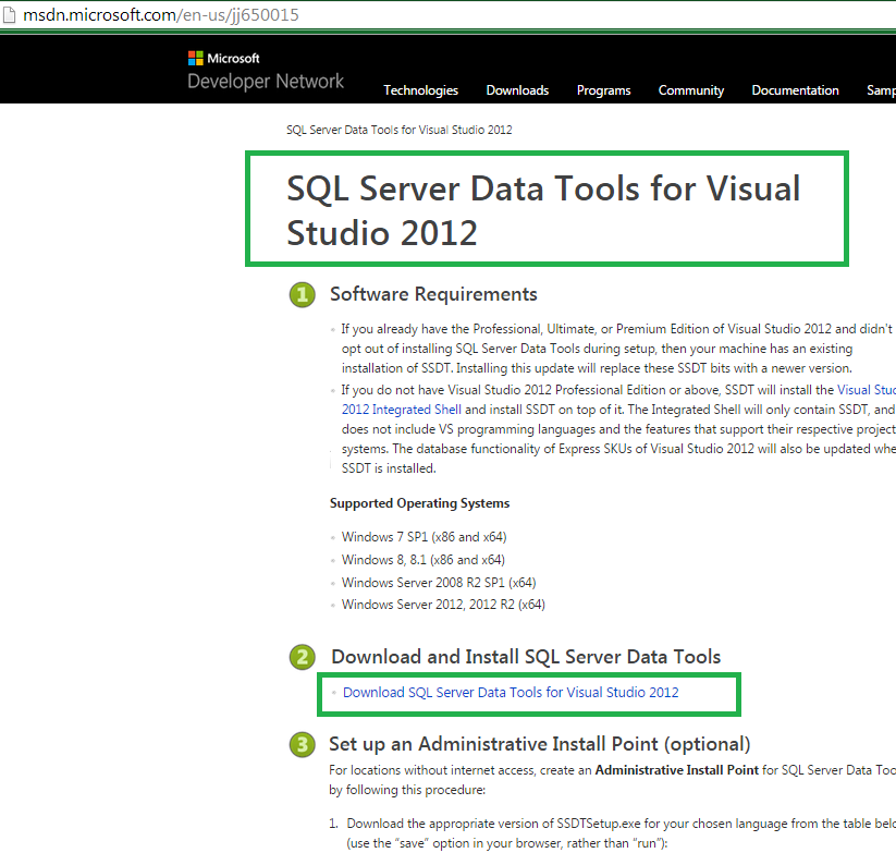 how to open ssdt in visual studio 2015